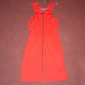 zip front hot red mini dress